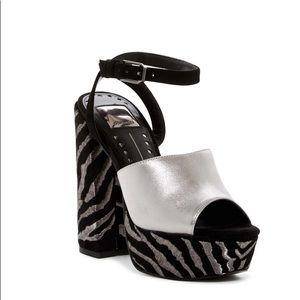 Dolce Vita Lisa Titanium Leather Block Heel New